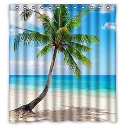 Palm Smaragd Strand Meer-Tropische Küste Duschvorhang, B x T x H): 168 x 183 cm, mit Haken - 1