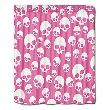 """Personalisierte Duschvorhang Cute Pink zufällige Totenkopf Muster Badezimmer Dusche Vorhänge von YYT, Weiß, 60""""(Width)x72""""(Length) - 1"""