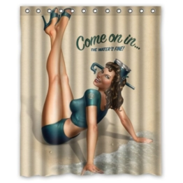"RETRO PIN UP GIRL, ""COME ON Custom Duschvorhang, Polyester, wasserdicht, inkl. Ringe 152.40 cm x 182.88 cm - 1"