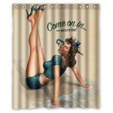 """RETRO PIN UP GIRL, """"COME ON Custom Duschvorhang, Polyester, wasserdicht, inkl. Ringe 152.40 cm x 182.88 cm - 1"""