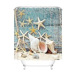 Seesterne und Muscheln Duschvorhang Anti Schimmel, viele schöne Duschvorhänge zur Auswahl, hochwertige Qualität, inkl. wasserdicht, Anti Schimmel Effekt, 180 x 180 cm - 1
