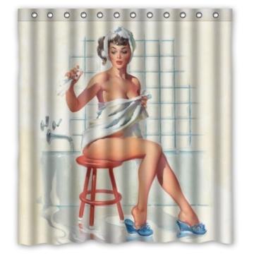 Sexy Badezimmer Kunst Vorhang für die Dusche Pretty Girl Baden–Vintage Retro Pin-Up Girls Body Art Arbeit Leinwand Malerei Stil Polyester-Wasserdicht-66(W) X72(H) inklusiv Ringe -