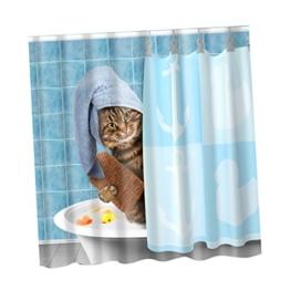Sharplace Duschvorhang Wasserdichter Anti-Schimmel 180X180 cm - Süße Katze, 180x180cm - 1