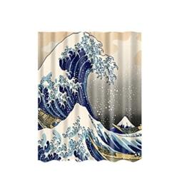 Sharplace Maritime / Weihnachten , Duschvorhang Bad Wasserdicht Polyester Drapiert 12 Haken Muster Auswahl - Welle, 180 * 180cm - 1