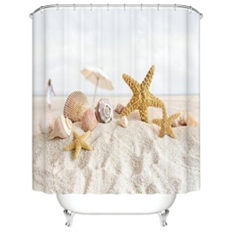 Strand & Seestern Duschvorhang, Qile Top Qualität Anti-Schimmel & Anti-Bakteriell 3D Duschvorhänge für Bad Badezimmer 180 x 180 cm + 12 Haken - 1
