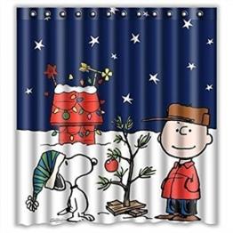 sunnymi Karikatur Xmas Wasserdichte Duschvorhänge 165x180cm★Gewohnheit Frohe Weihnachten Stoff/Einfach Zu Reinigen Nicht Verblassen/Anti-Bakterien Und Mildewproof Duschvorhang Größe - 1