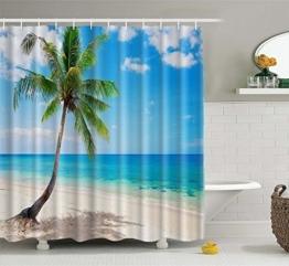 Superior Custom Sea Paradise Beach Seascape erfrischenden Palm Baum Coconut Palm Baum Duschvorhang 165,1x 182,9cm, Polyester-Mischgewebe, Strand, 65x72inch - 1