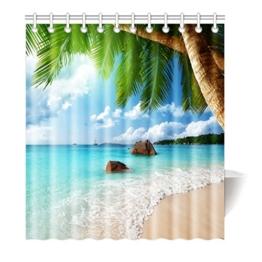 Violetpos Duschvorhang Strand Palme Dekor Hochwertige Qualität Badezimmer 120 x 180 cm - 1