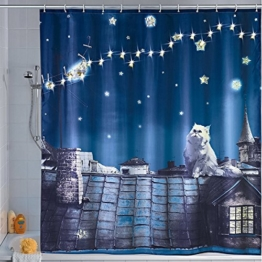 Wenko 22497100 LED Duschvorhang Moon Cat - waschbar, mit 12 Duschvorhangringen, Polyester, Mehrfarbig - 1