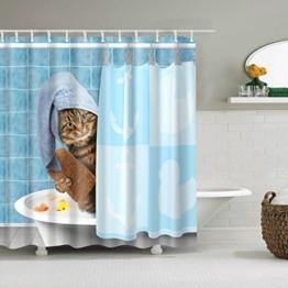 WTL Duschvorhang Duschvorhänge Dusche Katze Muster Wasserdicht schnell zu trocknen umweltfreundliche Materialien Metall Haken Hängeloch ( größe : 180*200cm ) - 1