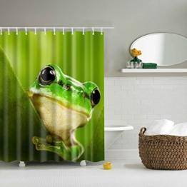5Größe Polyester Digitaldruck Tier Serie Duschvorhang Badvorhang Anti-Schimmel Wasserdicht ohne Haken für Heim und Hotel Decor (180*200cm, #4 Grüne Füße Frösche) - 1