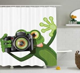 Abakuhaus Duschvorhang, Fotografier Frosch Frog EIN Bild mit Seiner Kamera Cute Süß Artfull Kunst Digitales Druck, Blickdicht aus Stoff inkl. 12 Ringe für Das Badezimmer Waschbar, 175 X 200 cm - 1