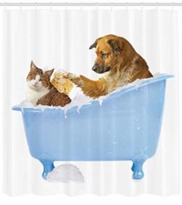 Abakuhaus Duschvorhang, Hund und Katze in der Badewanne Zusammen mit Bubbles Shampoo mit Duschspaß Kunst Druck, Blickdicht aus Stoff inkl. 12 Ringen Umweltfreundlich Waschbar, 175 X 200 cm - 1