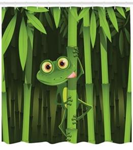 Abakuhaus Duschvorhang, Illustration des Freundlichen Spaß Frosches auf Stamm der Bambusdschungel Bäume Digital Druck, Blickdicht aus Stoff inkl. 12 Ringen Umweltfreundlich Waschbar, 175 X 200 cm - 1