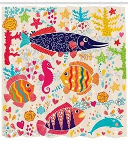 Abakuhaus Duschvorhang, Kinderfreundlicher Design mit Fischen Seepferdchen Delfin Bunt Froh Herzen Sternen Druck, Blickdicht aus Stoff inkl. 12 Ringen Umweltfreundlich Waschbar, 175 X 200 cm - 1