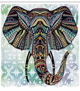 Abakuhaus Duschvorhang, Mehrfarbig Tribales Elefanten Design Muster Bunt Symmetrisch Abstrakt Afrika Safari Druck, Blickdicht aus Stoff inkl. 12 Ringe für Das Badezimmer Waschbar, 175 X 200 cm - 1