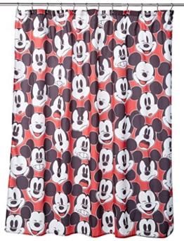 Disney Duschvorhang mit Mickey Maus und Minnie Maus, 177,8x 182,9cm, aus Stoff Duschvorhang Black/White Shower Curtain - 1