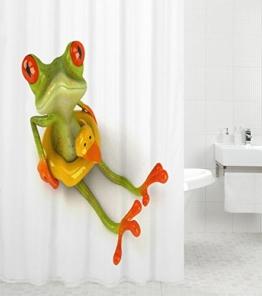 Duschvorhang Frosch 180 x 180 cm, hochwertige Qualität, 100% Polyester, wasserdicht, Anti-Schimmel-Effekt, inkl. 12 Duschvorhangringe - 1