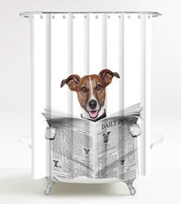 Duschvorhang Newspaper 180 x 180 cm, hochwertige Qualität, 100% Polyester, wasserdicht, Anti-Schimmel-Effekt, inkl. 12 Duschvorhangringe - 1