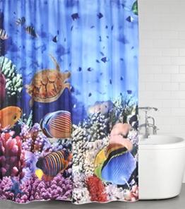 Duschvorhang Ocean 180 x 200 cm, hochwertige Qualität, 100% Polyester, wasserdicht, Anti-Schimmel-Effekt, inkl. 12 Duschvorhangringe - 1