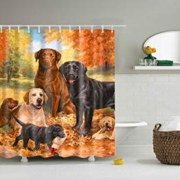 GWELL Tier Wasserdichter Duschvorhang Anti-Schimmel inkl. 12 Duschvorhangringe für Badezimmer 180x200cm Hund - 1