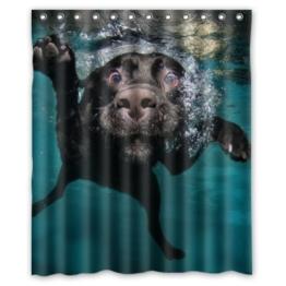 Larona Populärer lustiger reizender Labrador-Hund Badezimmer-Duschvorhang, Dusche-Ringe eingeschlossen 100% Polyester wasserdicht 150 x 180 cm - 1