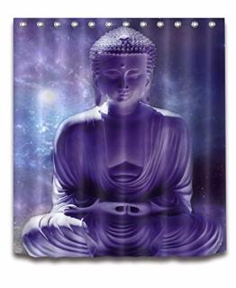 LB Asiatisch Buddha Zen Duschvorhang für Badezimmer mit Haken, 150x180cm Wasserdicht Anti-Schimmel Polyester Fabrik Badvorhang - 1