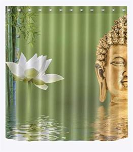 LB Spa Dekor Duschvorhang Buddha Statue im Wasser,weißer Lotus,Bambusblatt 150W x180H cm,wasserdicht,Polyester Stoff,kommen mit Bad Vorhang und Haken - 1