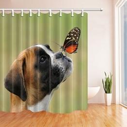 Nyngei Animal Duschvorhang für Badezimmer, Schmetterling, Hund mit Augen aus Polyester Stoff Duschvorhang Wasserdichte Badezimmer Duschvorhang Haken inklusive 180x 180cm - 1