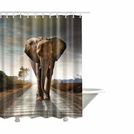 QEES Duschvorhang aus Stoff Wasserdichter Duschvorhang mit verstärktem Saum Anti-Schimmel Textilien Wasserabweisend Dusche Vorhang Verschiedene BIlder zu wählen YLB01 (M, Elefant 2) - 1