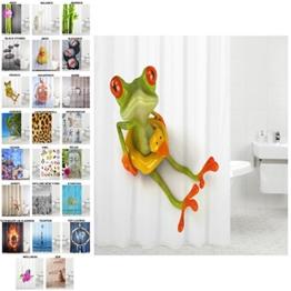 Sanilo Duschvorhang, viele schöne Duschvorhänge zur Auswahl, hochwertige Qualität, inkl. 12 Ringe, wasserdicht, Anti-Schimmel-Effekt (Frosch, 180 x 180 cm) - 1
