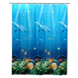 SODIAL(R) 180x180cm Tropischer Strand Meer Delphin Fisch Ozean Farben Duschvorhang mit Haken - 1