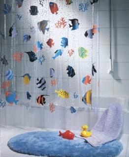 """Spirella Anti-Schimmel Duschvorhang """"Fish Multicolor"""" Anti-Bakteriell, waschbar, wasserdicht Vinyl 180x200cm - 1"""