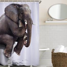 Wasserdicht Schimmel Beweis Bad Duschvorhang mit 12 Haken - Qualitäts-Polyester-Gewebe Duschvorhänge180*180,Die Bilder des Elefanten,Digitaler Druck,Nylon Material,Cartoon-Stil - 1