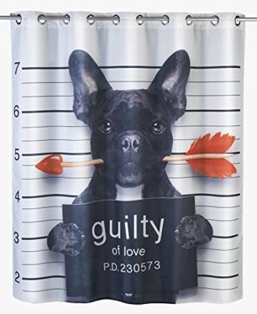 Wenko 22479100 Anti-Schimmel Duschvorhang Guilty Dog Flex, Anti-Bakteriell, wasserabweisend, waschbar, schimmelresistent mit integrierter Hängeeinrichtung, 100% Polyester, 180 x 200 cm, mehrfarbig - 1