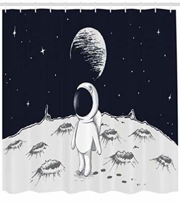 Abakuhaus Astronaut Duschvorhang, Space Kinder glücklich, Digital auf Stoff Bedruckt inkl.12 Haken Farbfest Wasser Bakterie Resistent, 175 x 240 cm, Schwarz Weiß -
