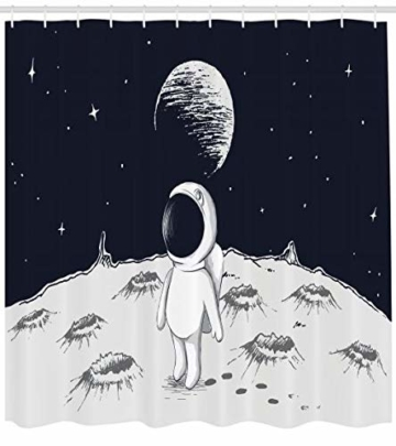 Abakuhaus Astronaut Duschvorhang, Space Kinder glücklich, Digital auf Stoff Bedruckt inkl.12 Haken Farbfest Wasser Bakterie Resistent, 175 x 240 cm, Schwarz Weiß - 1