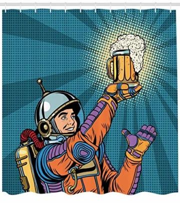 Abakuhaus Duschvorhang, Astronaut Welcher im Weltall Bier Findet Retro Hipster Vintage Comic Design als Digital Druck, Blickdicht aus Stoff inkl. 12 Ringen Umweltfreundlich Waschbar, 175 X 200 cm -