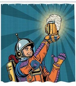 Abakuhaus Duschvorhang, Astronaut Welcher im Weltall Bier Findet Retro Hipster Vintage Comic Design als Digital Druck, Blickdicht aus Stoff inkl. 12 Ringen Umweltfreundlich Waschbar, 175 X 200 cm - 1