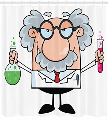 Abakuhaus Duschvorhang, Einstein Cartoon Lustige Wissenschaftler Chemie Nobel Physik Professor Nerd Geek Druck Bunt, Wasser und Blickdicht aus Stoff mit 12 Ringen Schimmel Resistent, 175 X 200 cm -