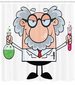 Abakuhaus Duschvorhang, Einstein Cartoon Lustige Wissenschaftler Chemie Nobel Physik Professor Nerd Geek Druck Bunt, Wasser und Blickdicht aus Stoff mit 12 Ringen Schimmel Resistent, 175 X 200 cm - 1