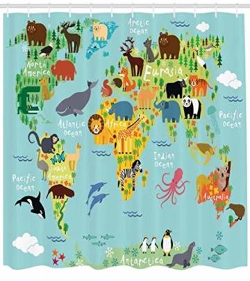 Abakuhaus Duschvorhang, Kinderfreundliche Weltenkarte mit Einer Groben anzeige Wo Welche Tiere Leben Cartoon Druck Bunt, Wasser und Blickdicht aus Stoff mit 12 Ringen Schimmel Resistent, 175 X 200 cm -