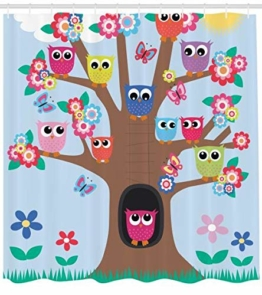 Abakuhaus Eule Duschvorhang, Cartoon-Baum mit Tieren, Pflegeleichter Stoff mit 12 Haken Wasserdicht Farbfest Bakterie Resistent, 175 x 200 cm, Multicolor - 1