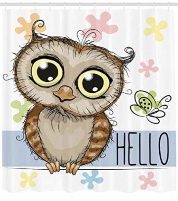 Abakuhaus Eulen Duschvorhang, Cartoon Butterfly Hello, Trendiger Druck Stoff mit 12 Ringen Farbfest Bakterie und Wasser Abweichent, 175 x 200 cm, Multicolor -