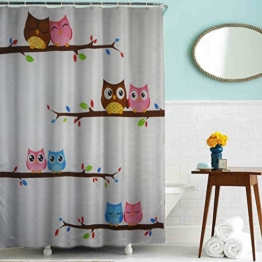 Ahorn & Home Custom Eule in Love Wasserdicht Duschvorhang, 180 x 180 cm wasserdicht Bad Vorhang Stoff Polyester Duschvorhang mit 12 Kunststoff Haken Cartoon Eule Duschvorhang 180,3 x 180,3 cm - 1