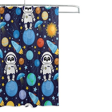 ALAZA Bunte Panda Astronauten-Weltraum Planet Duschvorhang 60 x 72 inch, schimmelresistent und Wasserdicht Polyester Dekoration Badezimmer-Vorhang - 2