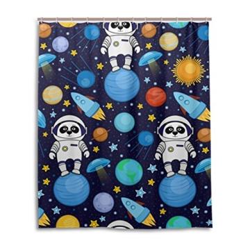 ALAZA Bunte Panda Astronauten-Weltraum Planet Duschvorhang 60 x 72 inch, schimmelresistent und Wasserdicht Polyester Dekoration Badezimmer-Vorhang - 1