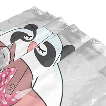 BALII Bali Niedlicher Cartoon Nilpferd Duschvorhang 182,9 x 182,9 cm Polyester wasserdicht mit 12 Haken für Badezimmer - 3