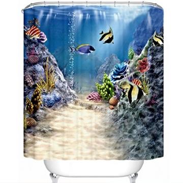GWELL Seaworld Kinder 3D Cartoon Duschvorhang Badezimmer Vorhänge, 180cm x 210cm -