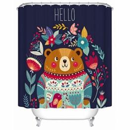 Juneping Badewanne Vorhang 1 STÜCK Cartoon Bear Print Duschvorhang Dark Wasserdicht Polyester Bad Vorhang für Badezimmer (Größe : 180 * 200cm) - 1
